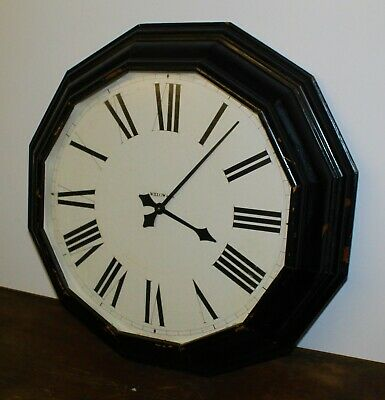 Vintage wall clock antique style kitchen mantel rustic wooden large