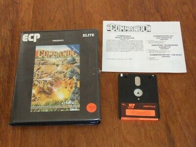 Commando game by Elite ECP for the vintage 1980s Amstrad CPC on 3in disk