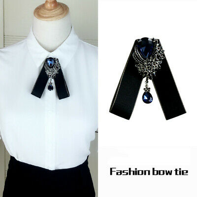 Women Girl Clip On Neck Bow Tie Ribbon Rhinestone Pendant Shirt Accessories Gift