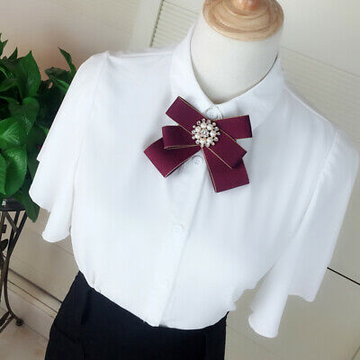 Women Retro Clip On Bow Tie Necktie Flower Faux Pearl Shirt Accessories Party