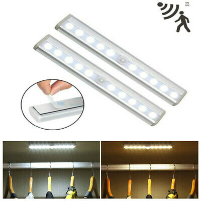 PIR Motion Sensor Wireless Battery Powered 10LED Night Light Lamp Wall Wardrobe