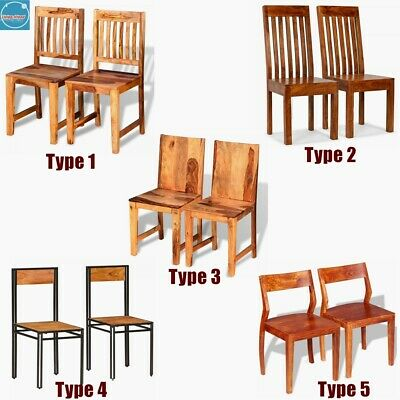 2/4 x Retro Dining Chairs Solid Wooden Bar Stool Pub Kitchen Home Furniture Seat