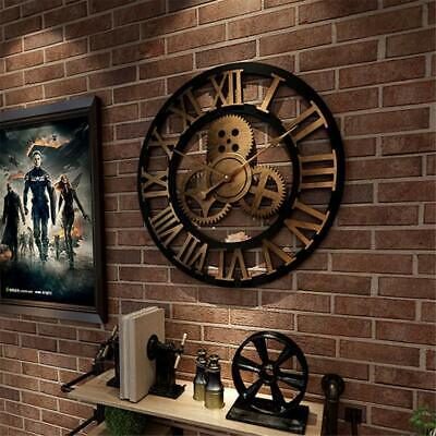 Large 3D Vintage Wall Clock Silent Wall Clock Wooden Roman Numeral Large Round
