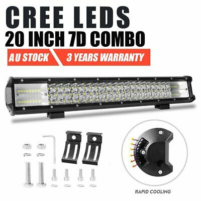 20 Inch CREE 7D LED Light Bar Spot Flood Offroad Driving Work 4x4 Truck SUV ATV
