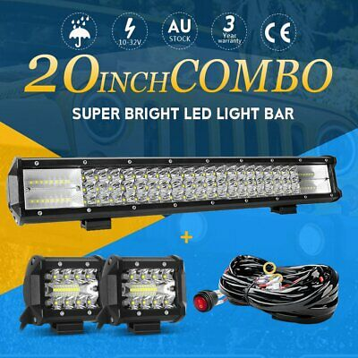 20inch + 4'' CREE Tri-row Spot Flood LED Work Light Bar Offroad Driving 4WD SUV