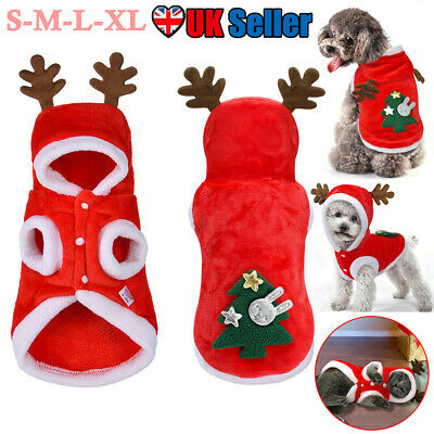 Pet Dog Cat Christmas Outfit Costumes Reindeer Hoodie Jacket Xmas Clothes Coat