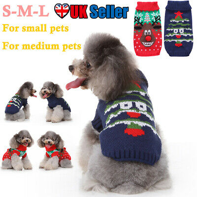 Pet Cat Dog Sweater Clothes Christmas Coat Warm Puppy Jacket Knitting Costume UK