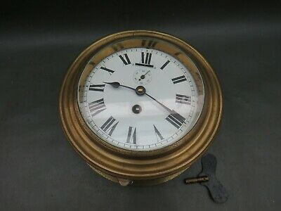 Vintage brass ships wall clock with Japy Freres movement for restoration