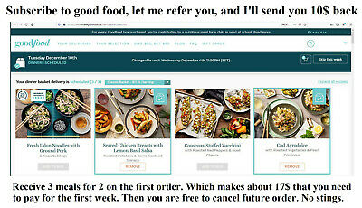 50$ rebate on first order of Good Food baskets (40$ from the site, 10$ from me)