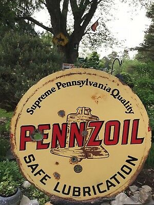 VINTAGE GAS OIL ORIGINAL SIGN PENNZOIL BROWN BELL early 1900's 2 sided porcelain