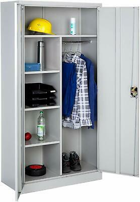Office Storage Cupboard Metal Grey with 4 Shelves and Rail  2-Doors  Lock System