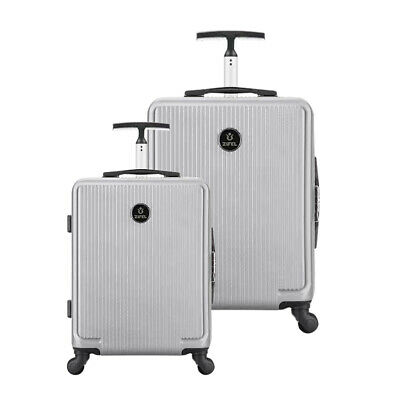 Hard Shell Cabin Suitcase Trolley Case 4 Wheel Luggage Lightweight 2Pcs 24 28''