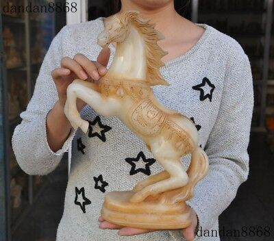 Chinese FengShui old jade Hand carved Zodiac animal success horse lucky statue