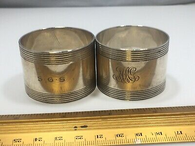 Pair Of ANTIQUE TIFFANY CO MAKERS Deco STERLING SILVER NAPKIN RING Heavy