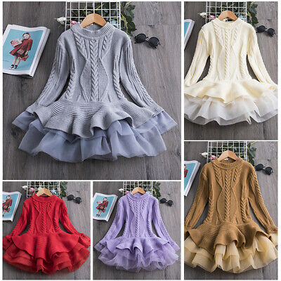 Kids Baby Girls Knitted Sweater Tutu Dress Winter Crochet Tops Dresses Pullovers