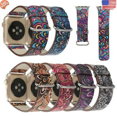 ✅iWatch Apple Watch Series 5 4 3 2 1 38 40 42 44mm Leather Band Strap Bracelet