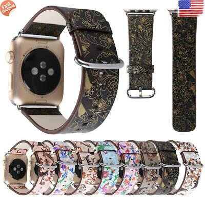 ✅For Apple Watch Series 5 4 3 2 1 Leather Floral Band Strap iWatch 38/42/40/44mm