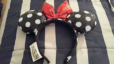Disney Theme Parks Minnie Mouse Bright Red Ears Sequins Bow Hat Headband Lke New