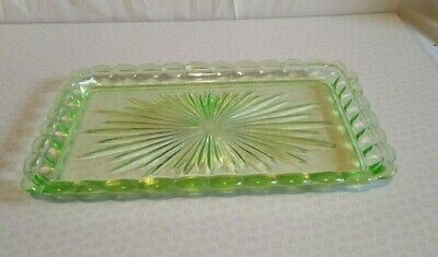 Vaseline Uranium Glass Art Deco Tray RARE 11.5 inches by 7.5 inches approx 1930s