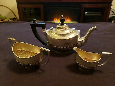 Antique Sterling Silver Teapot Set with Creamer & Sugar - H.B. - English