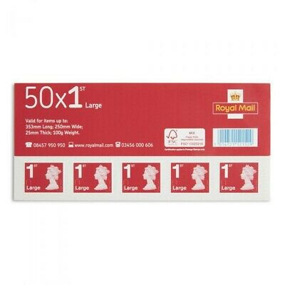 4 Sheets of 50 Royal Mail First Class Large Letter size 1st Class (200 Stamps)