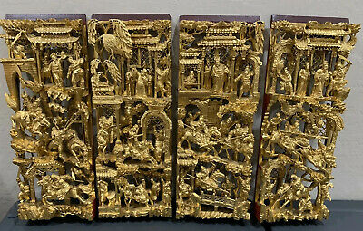 Four Antique Chinese Wood Hand Carved Pierces Gilt Gold Warriors Horses Panels
