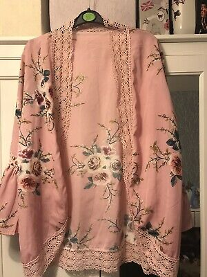 Womens Holiday Lace Floral Kimono Pink Ladies Summer Blouse Tops Size 12-14