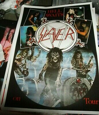 Promo Vintage Poster Concert Tour Hell Awaits Slayer Live 80s (1985) Kerry King
