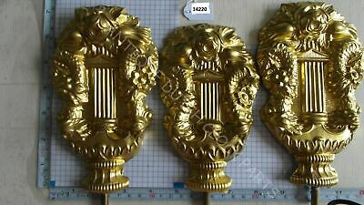 Set Of 3 Thin Hammered Brass Vases Top Of Dutch Friesian Tail Clock