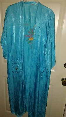 Vintage Golden Dragon Silk Beautiful Turquoise Robe Embroidery size medium