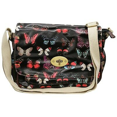 Satchel Oilcloth Butterfly Printed Twist Lock Single Pocket Messenger bags