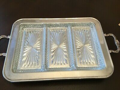VNTG Leonard Quality Silverplate Footed Serving Tray with 3 Glass Inserts handle