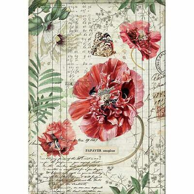 DFSA4357 Poppies Stamperia Rice Paper A4 Decoupage Mixed media