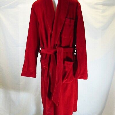 Vintage State O Maine Red Velour Wrap Lounging Robe Size M Burdines Men Store