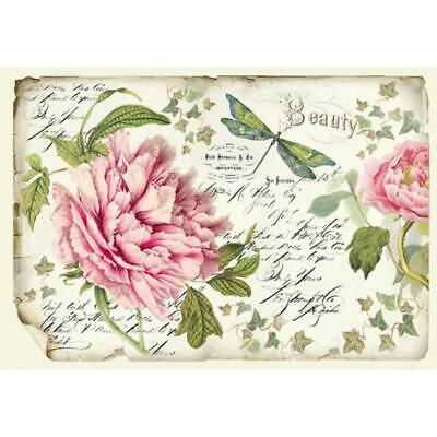 DFS355 Peony Stamperia Rice Paper 48x33cm Decoupage Mixed media
