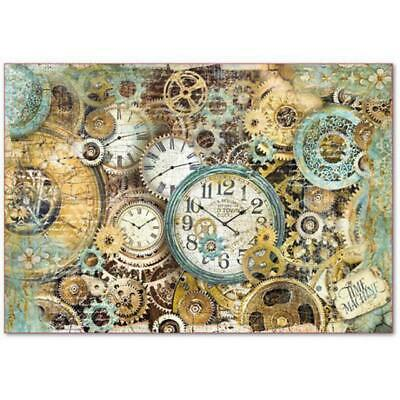 DFS378 Gearwheels and Clocks Stamperia Rice Paper 48x33cm Decoupage Mixed media