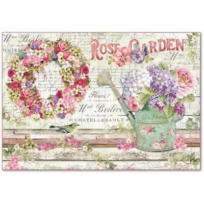 DFS396 Rose Garden Stamperia Rice Paper 48x33cm Decoupage Mixed media