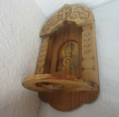 Hand carved antique wooden iconostasis stand with icon print, wood, carving../2/