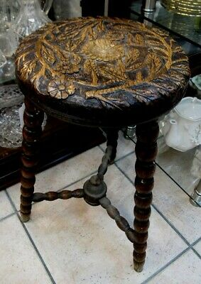 Victorian WELSH ca1870 Bobbin Legged Carved Floral Seat 3 x Legged Stool