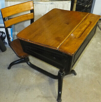 Vintage Child's School Desk & Chair Wood And Metal With Flip Up Top