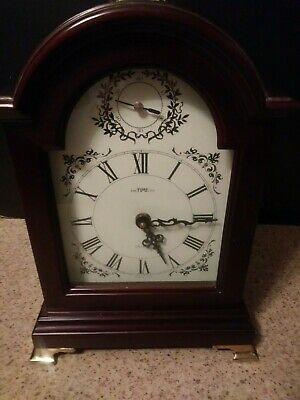 "Carriage Mantle Clock  14"" tall by Time Co.  Quartz Chimes on Hour works vGUC"