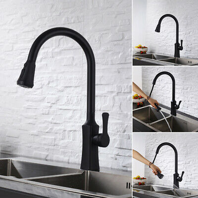 Pull Out Single Basin Spout Mixer Tap Brass Kitchen Sink 360 Degree Rotatable