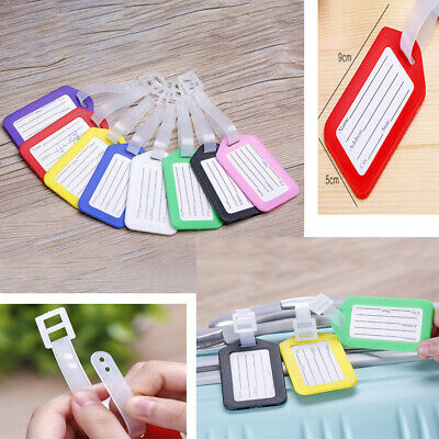 10pcs Travel Luggage Bag Tag with Strap Plastic Suitcase Name Address ID Label