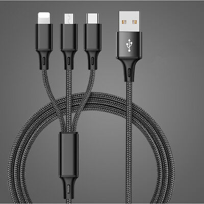 USB to Type C/Lightning/Micro 3 in 1 Multiple 3 A New Charging Cable Universal