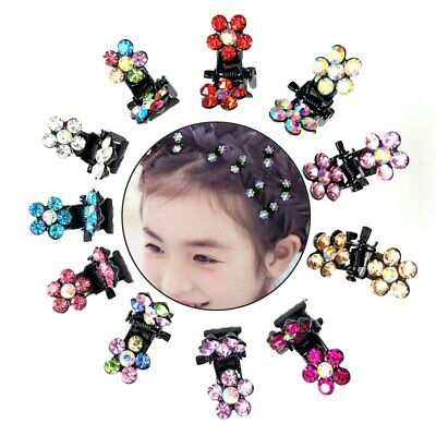 Mini Hair Claw Clips Crystal Rhinestone Flower Hair Clips Hairpin Headwear 12PCS