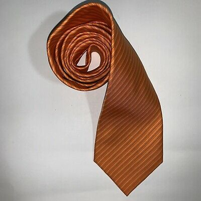 pre-loved authentic HERMÈS signature Burnt Orange SILK necktie / cravotte $399