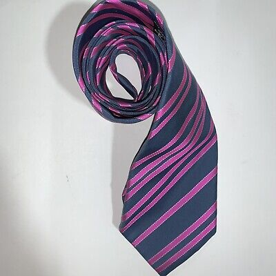 pre-loved authentic HERMÈS gray & pink Regiment Striped SILK Necktie Cravotte