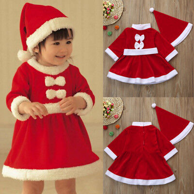 Toddler Baby Girls Christmas Party Clothes Costume Bowknot Dress Hat Outfit