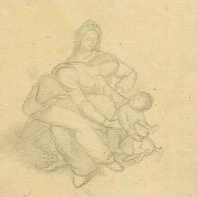 19th Old Pencil Drawing - Dessin Ancien - Religious Scene, Women, Mary