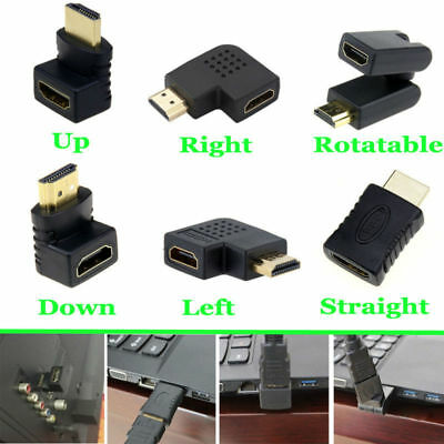 HDMI Female to HDMI Male Adapter Converter Extender 90 Degree Angle Coupler